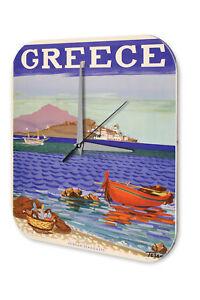 Genossenschaft Wanduhr Weltenbummler Strand Fischer Griechenland Acryl Dekouhr Nostalgie Wandtattoos & Wandbilder