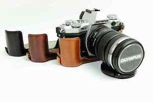 Leather-Half-Camera-Case-Bag-Grip-for-Olympus-OM-D-EM5-II-E-M5-Mark-II-3-colors
