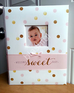 Carters-Pink-Gold-Glitter-Polka-Dot-Sweet-Sparkle-Baby-Girl-Memory-Keepsake-Book