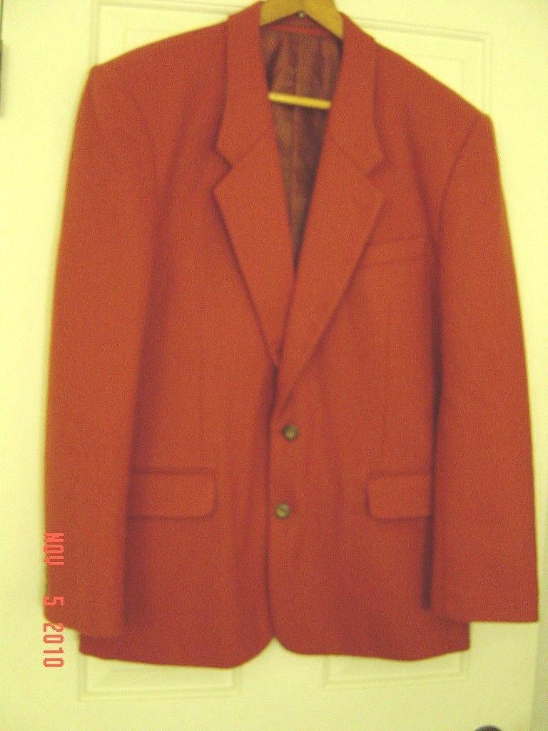 Men Bossini Wool/Nylon XL ROT Rust Formal Geschäft Western Suit