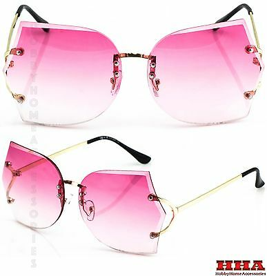 New OVERSIZED VINTAGE RETRO Style SUNGLASSES Large Gold Rimless Butterfly Frame