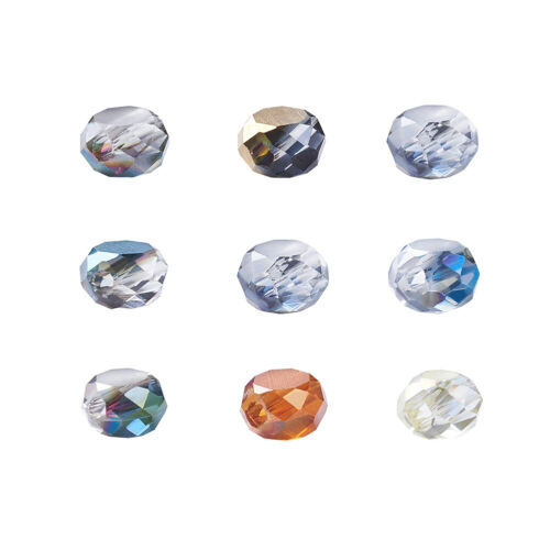 50PCS Electroplate Glass Beads Strands Faceted Flat Round Mixed Color 4x3mm