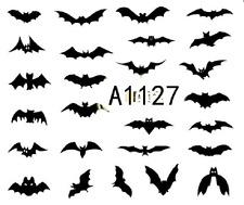 Nail Art Sticker Water Transfers Stickers Halloween Flying Bats (A-1127)