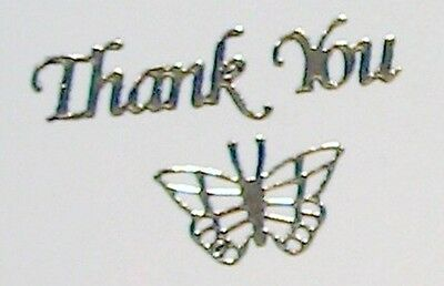 Sheet of 32 Silver Thank You & 5 Butterfly Stickers 15mm Height Wedding 422-2