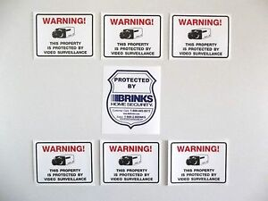 BRINKS ADT HOME SECURITY SYSTEM WARNING STICKER VIDEO CAMERA - Window decals for home security
