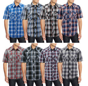 Men-s-Casual-Cowboy-Short-Sleeve-Button-Down-Plaid-Pearl-Snap-Western-Shirt