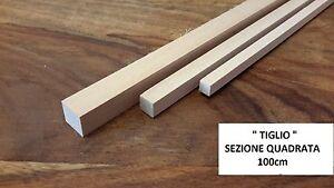 LISTELLO SEZ. QUADRATA LEGNO DI TIGLIO 100cm NAVALE MINIATURE MANTUA ...