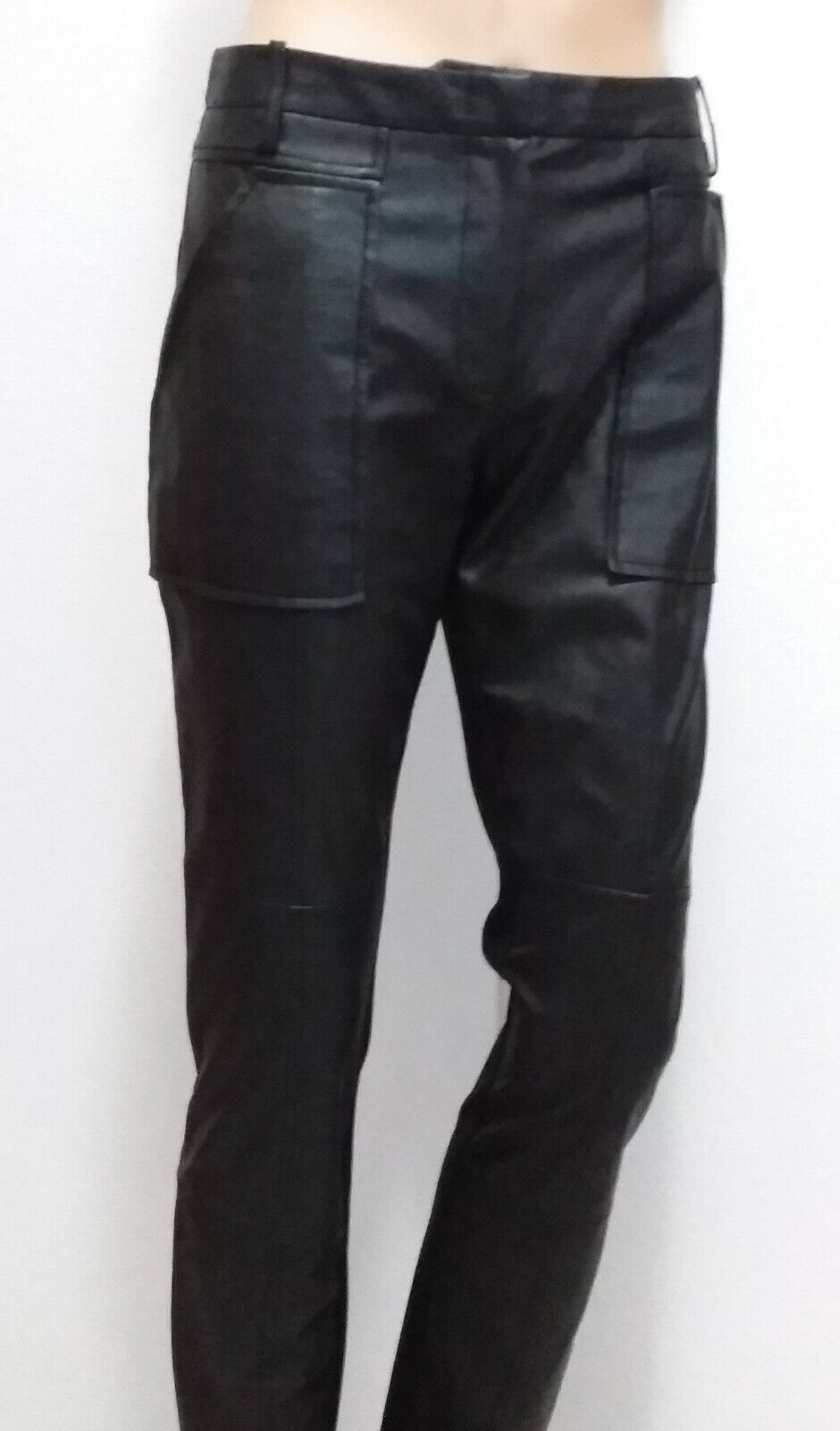 BCBGMaxazria Connor Hose Faux Leather Stretch Cargo Legging schwarz sz M M M NWOT