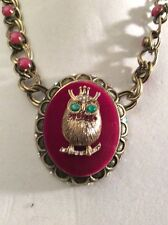 $78 Betsey Johnson  Woodland Owl Bead Necklace BK2 HTF