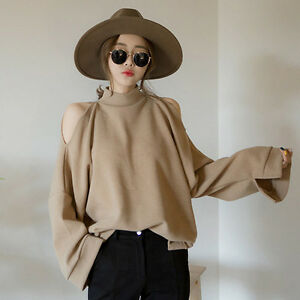 Women-Off-Shoulder-Turtle-Neck-T-shirt-Long-Sleeve-Loose-Blouse-Top-Fashion-New