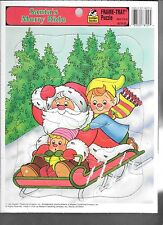 Santa's Merry Ride Frame Tray Jigsaw Picture Puzzle Golden 1993
