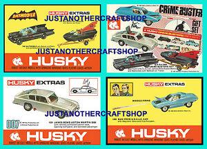 Corgi-Husky-Juniors-Bond-Batmobile-Crimebusters-Uncle-set-of-4-posters-leaflets