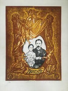 Serigraph by José J. Aguilera, ¨Martí y la niña¨,ca 2002, original signed. Cuba