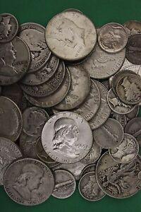 MAKE OFFER Half Standard Pound Kennedy Halves Mercury Dimes Silver Junk Coins