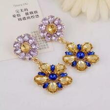 Fashion Crystal Blue Gemstone Flower Dangle Drop Earring Ear Studs Jewelry