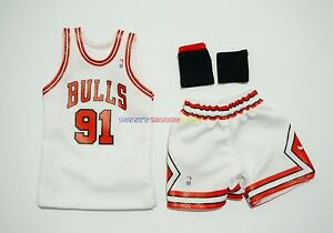 new arrival 3c625 a3c11 Details about New 1/6 NBA Chicago Bulls 91 Dennis Rodman Home Jersey White  For Enterbay Figure