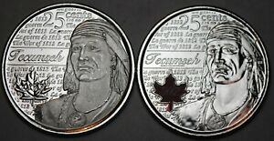 2012 Canada Tecumseh Coloured 25 Cents BU