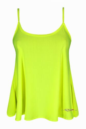Ladies Crop Strappy Swing Cami Illuminous Neon Vest Casual Party Top 8-14