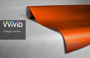 Orange carbon fiber vinyl 3d car wrap film DIY decal by VVIVID8 5ft x 5ft