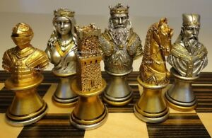MEDIEVAL-TIMES-CRUSADE-BUSTS-chess-men-set-Gold-Silver-No-Board