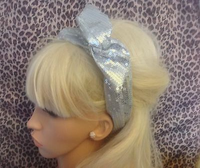 SILVER SEQUIN BENDY WIRE HAIR BAND WRAP WIRED HEADBAND SCARF VINTAGE 50s GLAMOUR