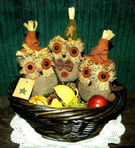 SET OF 3 PRIMITIVE GRUNGY COUNTRY FARM HOUSE OWL DOLLS BOWL FILLERS