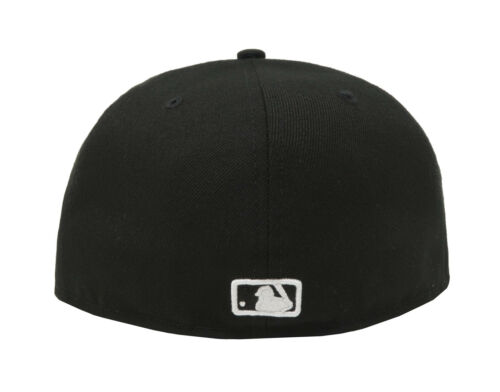 New Era 59Fifty Hat MLB New York Mets Mens Adult Black White Fitted 5950 Cap
