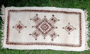 VINTAGE-HAND-HOOKED-RECTANGULAR-TRADITIONAL-LOOKING-FRINGED-RUG-21-034-X-48-034