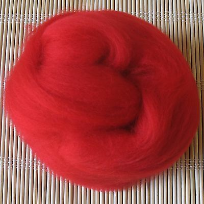 100g Merino Wool Tops 64's Dyed Fibres - Scarlet - Felt Making and Spinning