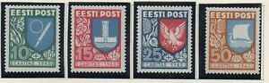 Estonia-Sc-B46-49-1940-Coats-of-Arms-charity-stamp-set-mint