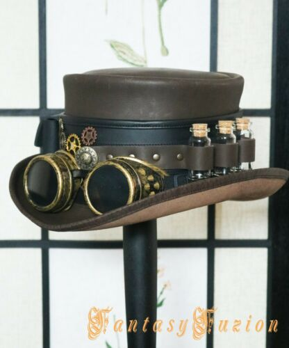 Steampunk Hat Time Traveller Wasteland Goggles Top Hat Pockets and Glass Vials