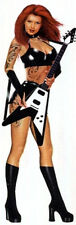 Latex Pin Up Girl mit Gitarre Aufkleber 20x6 cm Flying V Girl Decal Tattoo Hot