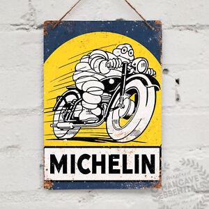 Michelin-Tyres-Bike-Vintage-Metal-Wall-Sign-Plaque-Retro-Garage-Racer-Cafe-Motor