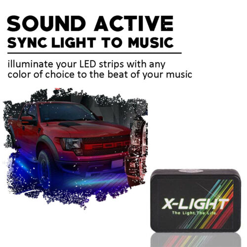 4PCS Waterproof RGB Car LED Under Tube Lamp Strip Underbody Glow Neon Lights Kit