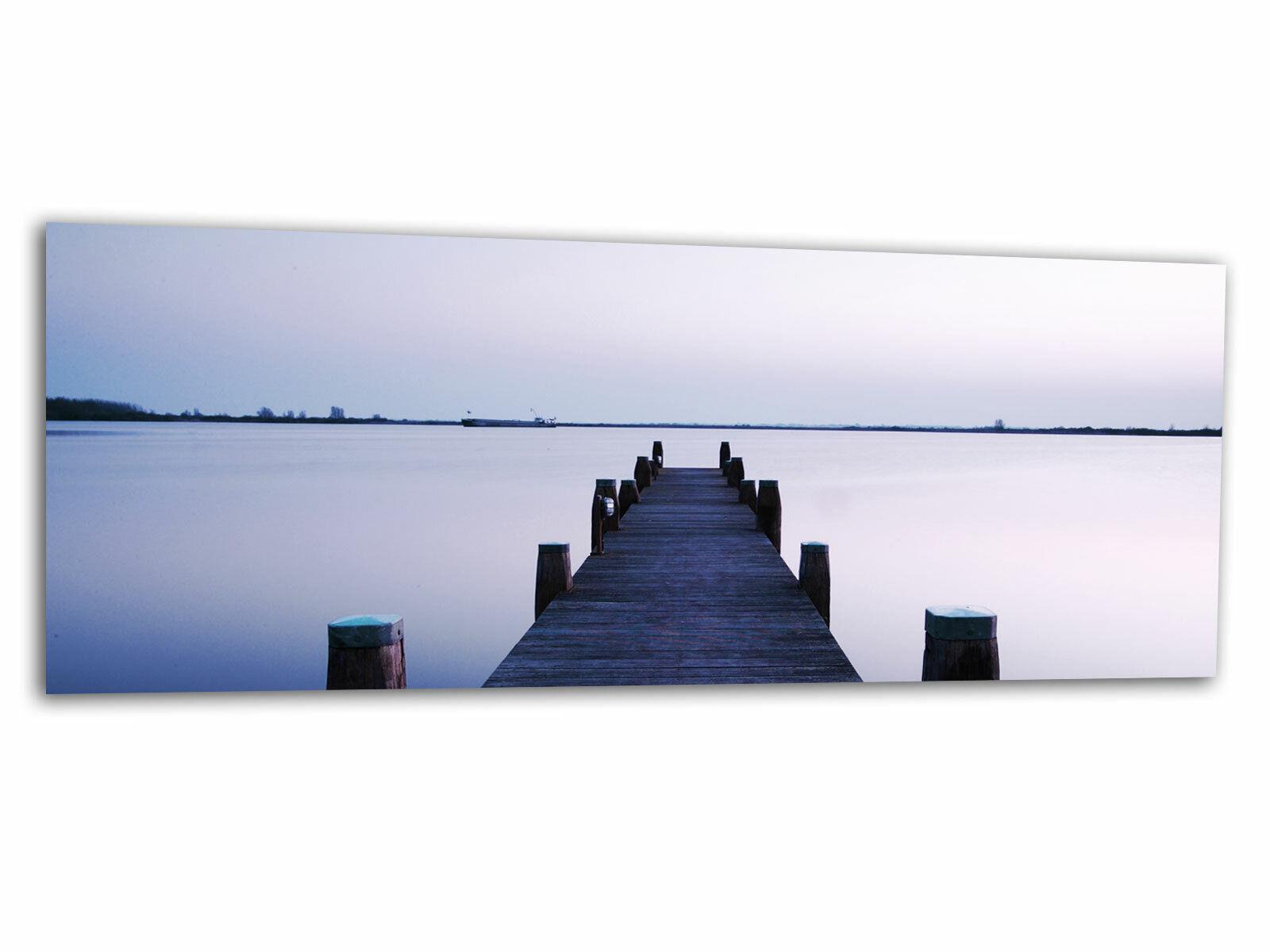 Glas-Bild Wandbild STEG ROMANTIC Blau I AG-01123 125 x 50cm