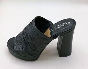 Malori  134351 sabot plateau in pelle arricciato nero  tacco 10 cm