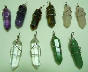 10-wire-wrapped-MIX-Quartz-Pendants-Healing-Crystals-FREE-SHIP-Chakra-Reiki-NEW