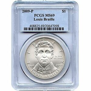 2009-P-Louis-Braille-Commemorative-Silver-Dollar-Coin-MS69-PCGS