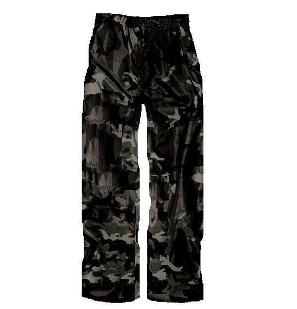 WATERPROOF WINDPROOF TROUSERS Black Camo Mens S-XXL hiking fishing hunting