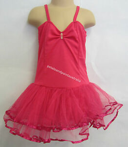Fairy Dress Ballet Tutu Dance Costume Dk Pink 4-6 Year Polyester Stretch Leotard