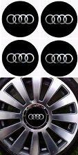 4 adhésifs AUDI noir logo Chrome de 40 mm à 75 mm Pour Centre De Jantes