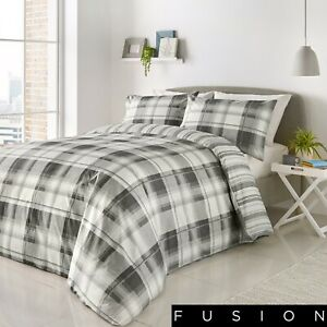 Fusion-Grey-White-Check-Duvet-Cover-and-Pillowcases-Bedding-Set-Tartan-Quilt