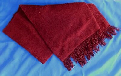 "Vintage 1970s fleece scarf fringed Monsanto Acrilan burgundy 40 x 9.5"" British"
