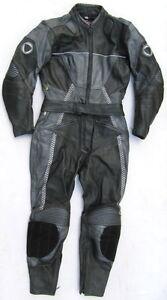 Top-SCHUH-Gr-40-Zweiteiler-Lederkombi-schwarz-grau-Leather-Suit