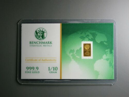 1//10 Gram Gold Bar  24K 999.9 Fine Gold Bullion Bar in sealed cert card 26X