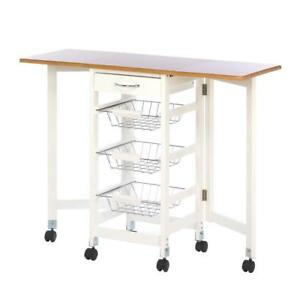 Bamboo Kitchen Trolley Extended Table