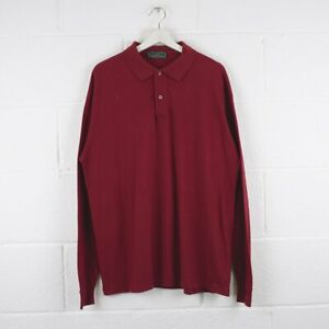 Vintage-FRED-PERRY-Red-Long-Sleeved-Polo-Shirt-Mens-Size-XL