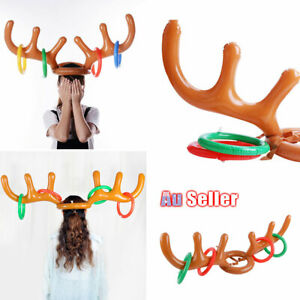 Inflatable Party Reindeer Antler Holiday Toy Christmas Hat Xmas Ring Game Toss Ebay