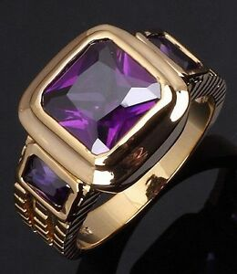 18K-GOLD-EP-2-5CT-AMETHYST-EMERALD-CUT-MENS-RING-size-8-12-YOU-CHOOSE