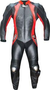 Tuta-per-moto-pelle-racing-completa-di-protezioni-CE-intera-TRIPLE-CUCITURE